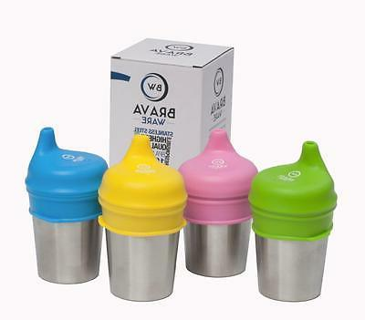 BravaWare Stainless Steel 8 oz Cup + Sippy Lids Set of 4 Bun