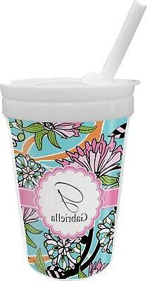 summer flowers sippy cup with straw personalized