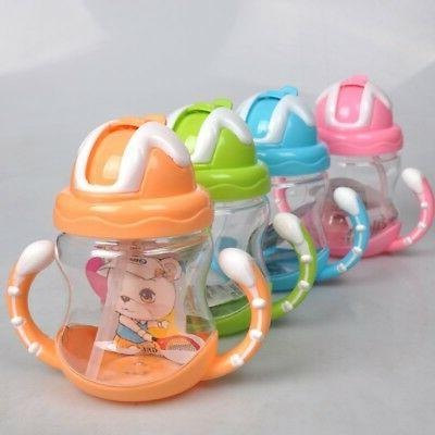 Toddler Infant Baby Kids Sippy Drinking Water Bottle Straw Anti Spill Bottle Cup