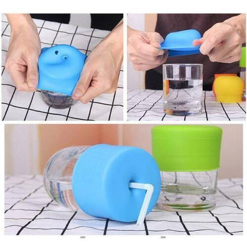 Universal Silicone Sippy Cup Straw Lids Mason Jar Kids Cup D
