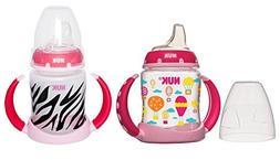 NUK Learner Cup Silicone Bundle Pack, Pink Balloon/Zebra, 5