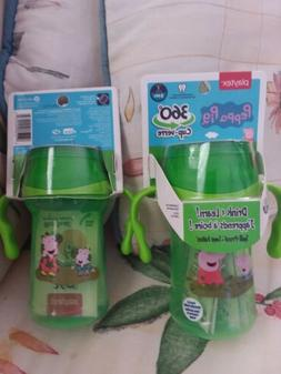 LOT of 2 Playtex Peppa Pig 360 Sippy cup new 9+m 10oz Spill
