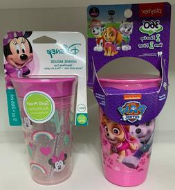 Lot of 2 Sippy Cups, Playtex Paw Patrol, Minnie Mouse, 360°
