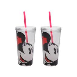 Zak Designs Minnie Mouse Double Wall Tumbler with Straw, 16-
