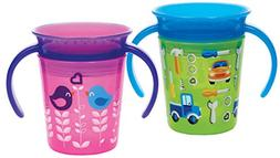 Munchkin Miracle 360 Trainer Cup, Green/Pink, 2 Count