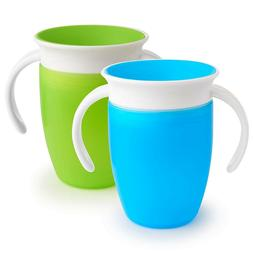 Munchkin Miracle 360 Trainer Cup, Green/Blue, 7 Oz, 2 Count.