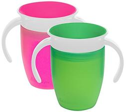 Munchkin Miracle 360 Trainer Cup, Pink/Green, 7 Ounce, 2 Cou