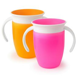 Munchkin Miracle 360 Trainer Cup, Pink/Orange, 7 Ounce, 2 Co