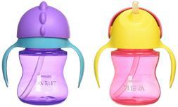 Philips Avent My Bendy Straw Cup, 7oz, 2pk, Pink/Purple, SCF