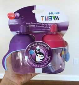 Philips Avent My Penguin Sippy Cup 9oz pink purple 2 pack