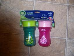 Chicco Natural fir tip and sip 9+ M sippy cups pink blue new