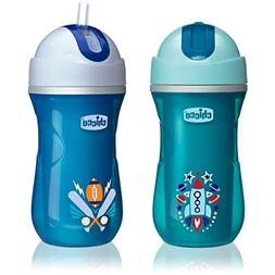 Chicco NaturalFit Insulated Flip Top Straw Sippy Cup, Blue/T