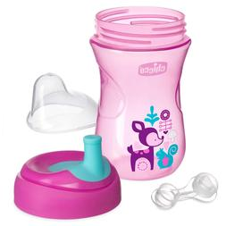 Chicco NaturalFit Straw Trainer Sippy Cup, Pink/Purple, 9 Ou