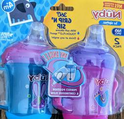 New Nuby 2-Pack Two-Handle No-Spill 360 Grip N' Sip Cups, 8