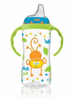NEW NUK Large Learner Sippy Cup Blue Jungle Designs Boy Monk