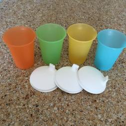 NEW Vintage Style Tupperware Kids Sippy Cups & Lids Bell Tum