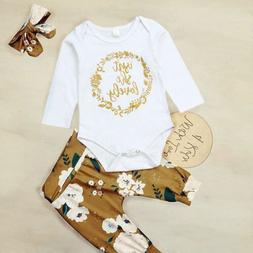 Newborn Kids Baby Girls 3pcs Clothes Romper Jumpsuit Bodysui