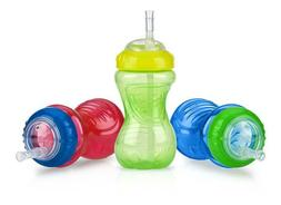 Nuby 3 Pack Boy No-Spill Cup with Flex Straw - 10 Ounce - 12
