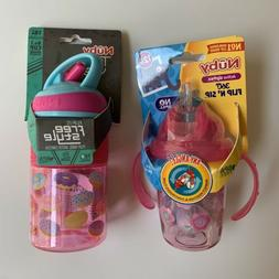 Nuby Sippy Cup Water Bottle Lot Set Pink NEW NWT