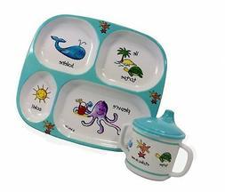 Baby Cie Ocean Animals, Melamine Plate & Sippy Cup - 2 Piece