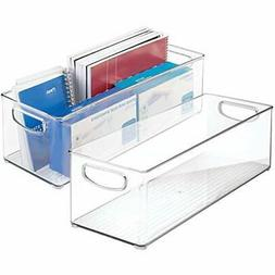 mDesign Large Stackable Plastic Storage Bin Container, Home