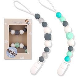 TYRY.HU Pacifier Clips Silicone Teething Beads BPA Free Bink