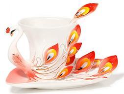 CSKB Red Peacock Theme Design China Porcelain Tea Cup and Sa