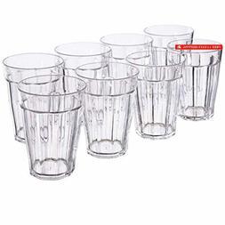 Rhapsody 12-ounce Plastic Tumblers | set of 8 Clear