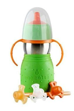 Kid Basix Safe Sippy 2 - Stainless Steel 2-in-1 Sippy Cup w/