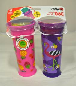 Sassy 360 Grow Up Cup Spoutless Sippy Cup, Purple/Pink 12oz