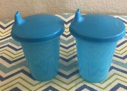 Tupperware Set of 2 Bell Tumblers w/ Sippy Cup Lids Blue 7oz