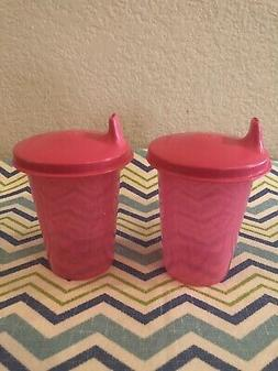 Tupperware Set of 2 Bell Tumblers w/ Sippy Cup Lids Pink 7oz
