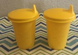 Tupperware Set of 2 Bell Tumblers w/ Sippy Cup Lids Yellow 7