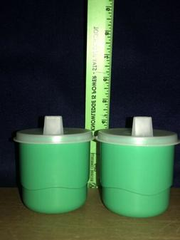Set Of 2 Tupperware Tumbler Snack Sippy Cups 7 oz #2546 Gree