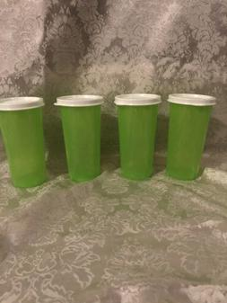 Tupperware Set Of 4 9 Oz Straight Sided Tumblers Cups Green