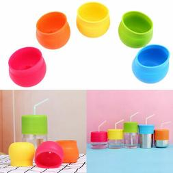 Silicone Sippy Cup Lid Straw Spill-Proof Cup Cover Toddler B