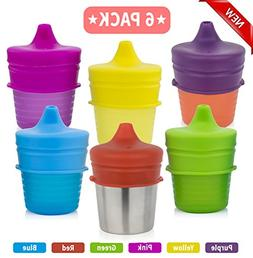 Biubee 6 Pack Silicone Sippy Cup Lids - Resuable Elephant Sp
