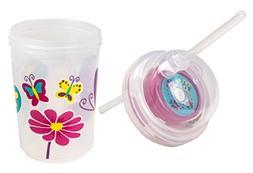 nuspin kids 8 oz Sip & Spin Straw Cup + Bonus Zoomi Straw, B