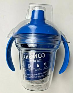 sippy cup blue lid clear double wall