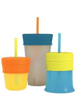 Boon Snug Straw With Cup Blue/Orange/Green