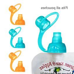 ChooMee SoftSip Food Pouch Tops | 100% Silicone | Orange Aqu