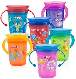 Nuby 1pk No Spill 2-Handle 360 Degree Printed Wonder Cup - C