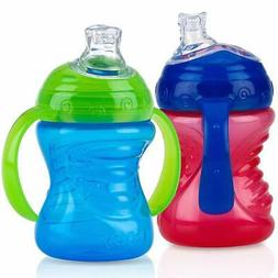 Nuby 2-Pack No-Spill Super Spout Grip N' Sip Cup, Red and Bl