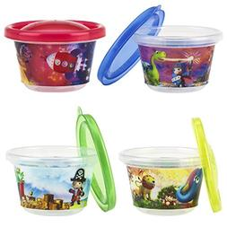 Nuby 4-Pack Stackable Printed Wash or Toss Snack Cups, 4 Oun
