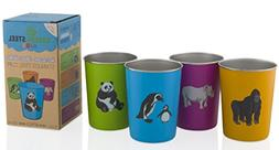 10oz Stainless Steel Cups for Kids - Metal Cup - Fun Animal