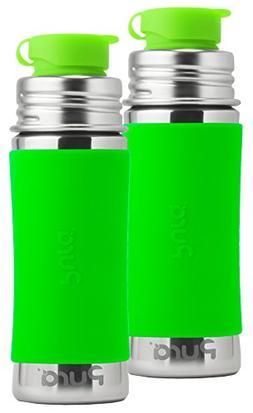 Pura Sport Stainless Steel Bottle, 11 Ounce, Set of 2, Green