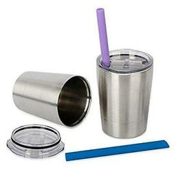 Housavvy Stainless Steel Cups with Lids and Straws 8.5 OZ Se