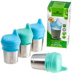 Stainless Steel Cups with Silicone Sippy Cup Lids for Kids T