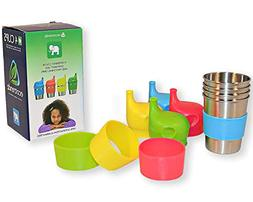 Ecotrendz Stainless Steel Cups & Silicone Sippy Lids with Sl