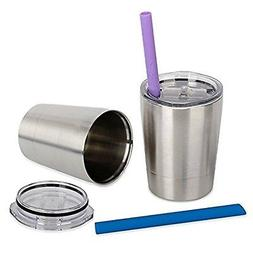 SunCraft Stainless Steel Cups with Silicone Sippy Lids & Gri